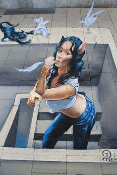 Read More About Streetpainting 'MIAOW!' at the Wilhelmshaven 2012 Street Art Festival by Ruben Poncia. Amazing Street Art, 3d Street Art, Street Art Graffiti, Graffiti Wall Art, Mural Art, 3d Sidewalk Art, 3d Chalk Art, Art 3d, Pavement Art