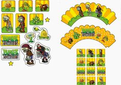 Plants vs Zombies: Free Printable Cupcake Toppers and Wrappers. Plants Vs Zombies, Zombies Vs, Zombie Birthday Parties, Zombie Party, Boy Birthday, Birthday Ideas, Zombie Plan, Zombie Kid, Plantas Versus Zombies
