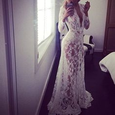 Dress: sheer white we'd find wedding see through floral white lace floral summer