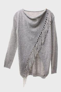 Wrap Fringe Sweater - Grey – Lola's Lookbook