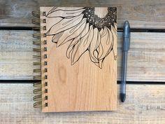 Sunflower Wood Journal Dream Journal, Journal Diary, Journal Notebook, Wood Burn Designs, Engraved Cutting Board, Personalised Frames, Sunflower Design, Wood Burning Art, Laser Cut Wood