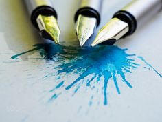 Splash - Ink on paper and fountain pens. Fountain Pens, My Photos, Ink, Paper, Fountain Pen, Ink Art