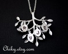 Family Tree necklace with four initial leaf, tree branch necklace, leaf necklace, STERLING SILVER - family tree necklace, leaf jewelry on Etsy, $38.50