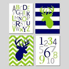 Navy Blue Lime Green Nursery Art  Chevron Deer Striped by Tessyla, $65.00