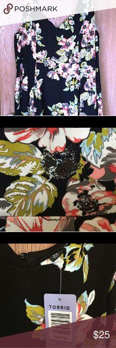 Nwt Torrid sjater dress Ponte knit skater style dress from Torrid. Black with peach flowers. torrid Dresses Midi
