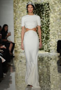 Crop Top Wedding Dress | Reem Acra Wedding Dresses Fall 2015 | Maria Valentino/MCV Photo | Blog.theknot.com