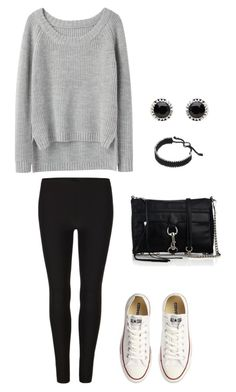 """""""Outfit for School Feat. White Converse"""" by kjfashion ❤ liked on Polyvore featuring Converse, rag & bone, AllSaints, Rebecca Minkoff, Mimco, Links of London, kendall jenner inspired, kendall jenner style, kylie jenner fashion and kendall jenner fashion"""
