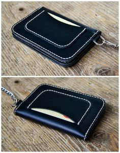 This products is 100% handmade, hand cut and hand stitched. Size: 9,5 x 14 cm/3.75 x 5.5 Material: genuine italian leather and italian waxed nylon thread. Colour: black  This long wallet, perfect for bikers, for men but for women as well, features: - 1 frontal pocket for 1, 2 or more cards - 1 additional back pocket for 1, 2 or more cards - 2 large pockets for bills, documents, etc. - 1 little pocket in between for other cards or for coins - 1 upper pocket - 1 key holder - double snap cl...