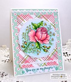 ChristineCreations: Rose & Chamomile digital stamp set by Power Poppy, card design by Christine Okken.