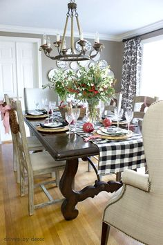 Dining room decorated for the holidays!