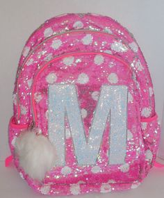 Girls JUSTICE Flip Sequins Backpack Bookbag Initial M Pink White Dots New  School  Justice   029cd702fd405