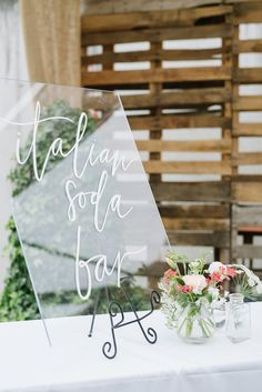 Italian Soda Bar wedding sign for Emily + Zane | Calligraphy by Lavender and Pine | Event Styling & Florals by Rachael Ellen Events