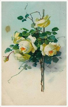 Retro card with roses for decoupage. Discussion on LiveInternet - Russian Service Online Diaries Catherine Klein, Love Flowers, Vintage Flowers, Shabby Chic Painting, Rose Pictures, Watercolor Cards, Botanical Prints, Diy Art, Flower Art