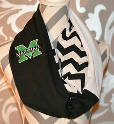 Marshall University Infinity Scarf loop scarf embroidered logo patch Zig Zag patern Infinity Scarf