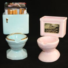 Vintage Ashtrays 1950s His and Hers Set Little John A Cigarette Blue Pink Decor