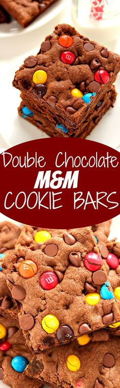 Double Chocolate M&M Cookie Bars Recipe – quick and easy treat packed with chocolate and bright M&M's! Fun and delicious bars that need to happen in your kitchen!