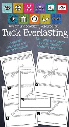 Depth and Complexity graphic organizers for each chapter of Tuck Everlasting! $
