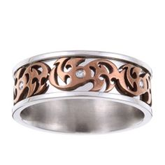 @Overstock - Men's diamond accent ringStainless steel jewelry http://www.overstock.com/Jewelry-Watches/Stainless-Steel-Diamond-Accent-Brown-Scrollwork-Band/5077469/product.html?CID=214117 CAD              48.26