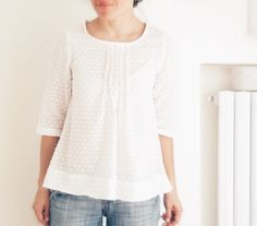 White pleated blouse for women japanese style top cotton
