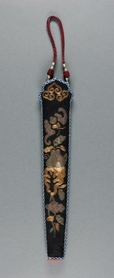 Philadelphia Museum of Art - Collections Object : Fan Case c. 1915 Medium: Black silk with metallic embroidery and woven trim