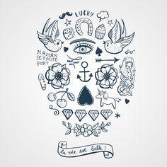 La vie est belle - Planche de plusieurs petits tattouages temporaires formant un crâne calavera http://www.bernardforever.fr/products/la-vie-est-belle