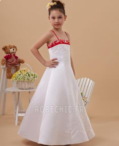Robe Cortège Fille Naturel taille Broderie Simple aligne Soie