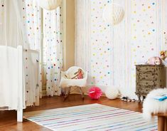 24 Best Ideas to Decorate Kids Bedroom with Wallpaper # # bedroom is always a portion of the full home program. The interiors you pick for your youngster's room must make the room appear bigger,. Kids Room Wallpaper, Home Wallpaper, Wallpaper Ideas, Nursery Room, Kids Bedroom, Baby Room, Polka Dot Curtains, Wallpaper Suppliers, Online Shopping