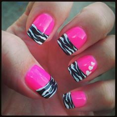 PINK AND ZEBRA NAILS