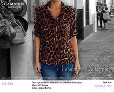 #Blusa Leopard con bolsillos delanteros en Fibrana CS 042 S,M $790