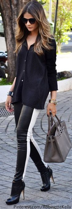 Street Style | Black and White Leather