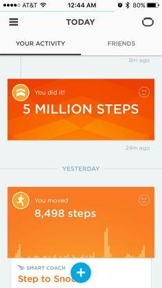 Jawbone: Milestone Card in Newsfeed
