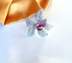 Large Sparkling Pave Crystal Tropical Flower by BuccaneerTrading, $35.00
