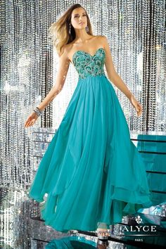 Alyce Paris Prom Dress 6165 - Strapless sweetheart neckline silky chiffon dress. Fully hand-beaded appliques on bodice front and back. Flowing skirt with asymmetrical high-low train.