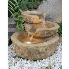 Alfresco Home 74-0304 ValGardena Fountain in Brown with Pump and Light