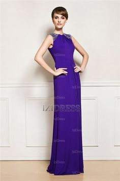 Sheath/Column Bateau Floor-length Satin Evening Dress - IZIDRESSES.com at IZIDRESSES.com