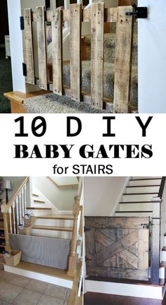 Dog Gate - 10 DIY Baby Gates for Stairs to keep your children safe from common household dangers. Baby Gate For Stairs, Diy Baby Gate, Stair Gate, Diy Dog Gate, Diy Gate, Staircase Gate, Dog Gate With Door, Wood Baby Gate, Barn Door Baby Gate