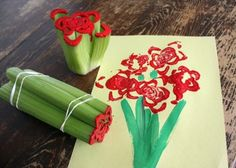 great idea for kids art project with celery stalks