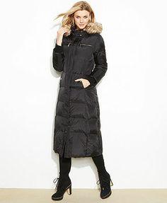 MICHAEL Michael Kors Hooded Faux-Fur-Trim Maxi Puffer Coat