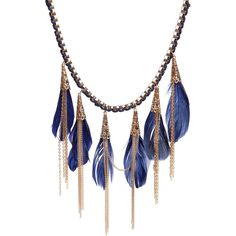 Charlize Multi Feather And Chain Necklace ($20) ❤ liked on Polyvore
