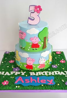 Celebrate with Peppa Pig Cake Tortas Peppa Pig, Fiestas Peppa Pig, Peppa Pig Y George, George Pig, Cake Pops, Peppa Pig Birthday Cake, 3rd Birthday, Birthday Ideas, Pig Party