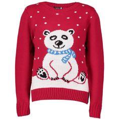 Boohoo Lola Kids Polar Bear Christmas Jumper (27 AUD) ❤ liked on Polyvore featuring tops, sweaters, red, knit turtleneck sweater, red turtleneck, wrap sweater, red knit sweater and knit sweater