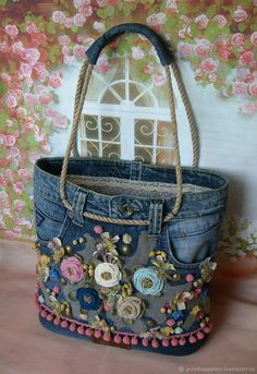 Best 12 Free Tutorial: Easy support for sewing in pocket bottoms - Diy tasche nähen - bags Jean Crafts, Denim Crafts, Boho Bags, Old Jeans, Denim Jeans, Denim Bags From Jeans, Recycled Denim, Fabric Bags, Fabric Basket