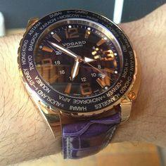 #Vogard Timezoner blue croc with gold case. Totally ballet travel #watch #watchporn #instawatches #ablogtowatch #gte