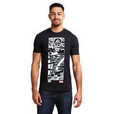 Marvel Mens - Captain America Vertical - T-shirt - Black - XXLarge