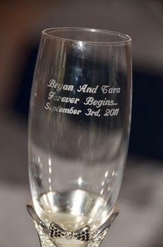 Engraved wedding champagne glass <3