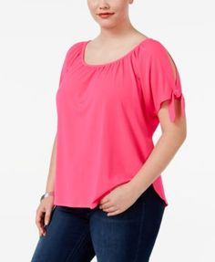 f484f6cd67628 INC International Concepts Plus Size Cold-Shoulder T-Shirt