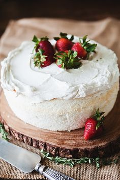 Angel Food Cake with Strawberries...one of my favorite desserts, but wonder how this compares with my grandma's recipe?