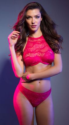This eye-catching bra features a sheer mesh and lace neckline, monowire cups, a high back hook closure, adjustable spaghetti straps, and a hook and eye back closure, This flirty pink panty features sheer mesh panels, an eyelash lace overlay, and a thong cut back. Alizee Pink Diagonal Lace Bra Set, Alizee High Neck Bra, pink high neck bra - Yandy.com, Alizee Eyelash Lace Panty, pink lace thong - Yandy.com