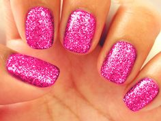 False nails have the advantage of offering a manicure worthy of the most advanced backstage and to hold longer than a simple nail polish. The problem is how to remove them without damaging your nails. Marriage is one of the… Continue Reading → Pink Sparkly Nails, Hot Pink Nails, Glittery Nails, Sparkle Nails, Pink Sparkles, Pink Shellac, Glitter Toes, Glitter Nail Art, Gold Glitter