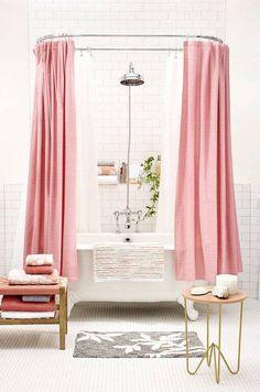 pink + white bathroom